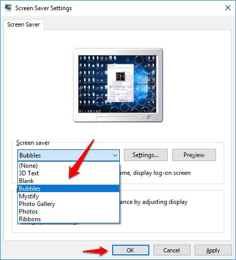activate screensaver Windows 10