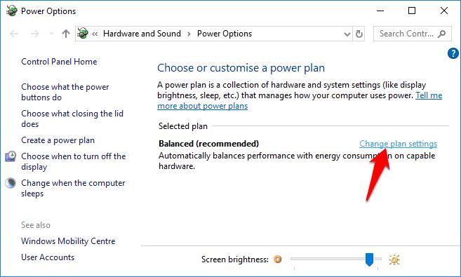 change plan settings windows 10