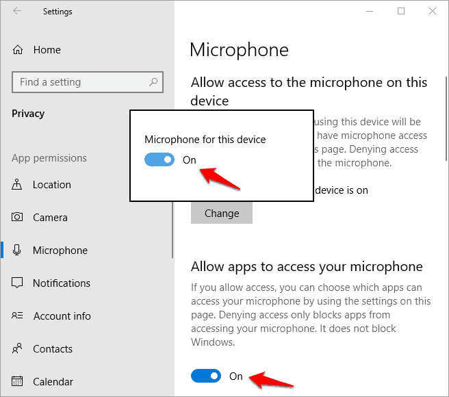 microphone not working in windows 10