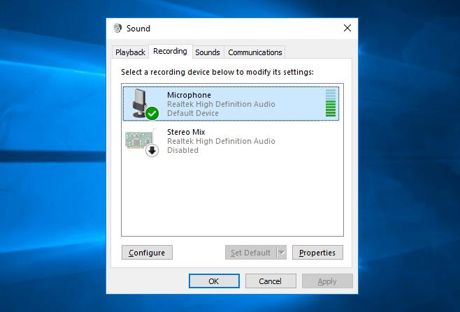 microphone not working windows 10
