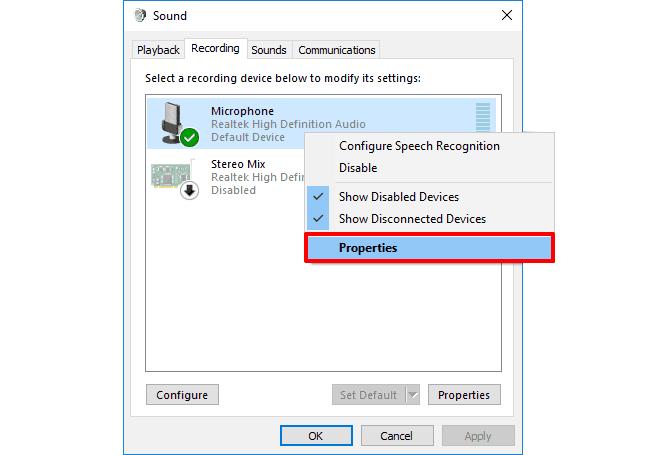 windows 10 mic not working