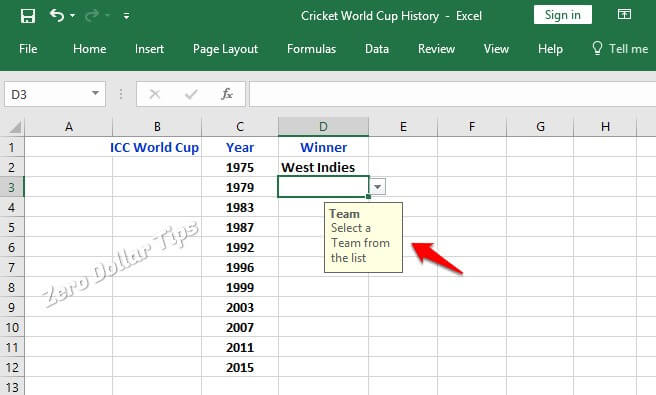 create a drop down list in excel