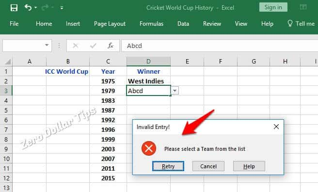 create drop down menus in excel