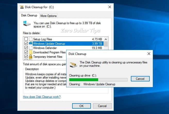 disk cleanup stuck