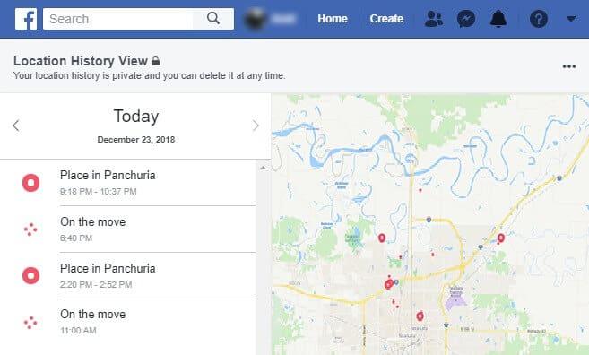 facebook location history