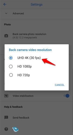 how to change video resolution on pixel 3 xl