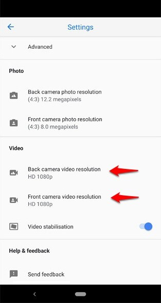 how to change video resolution on pixel 3