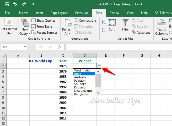 how to create drop down list in excel 2010