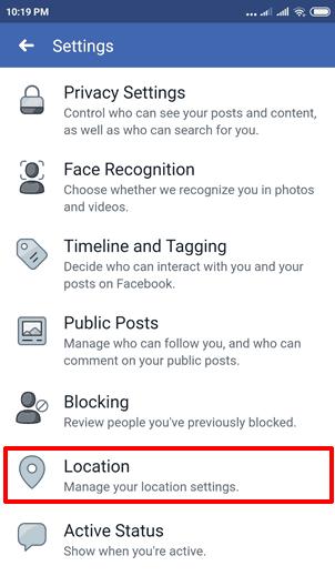 turn off facebook location history