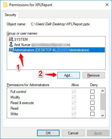 change permissions of a folder