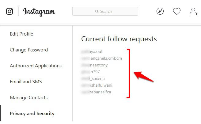 pending follow request instagram