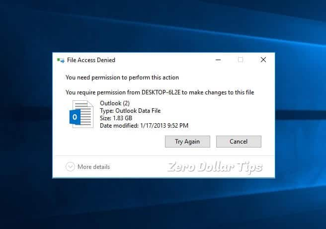 you need permission to perform this action windows 10