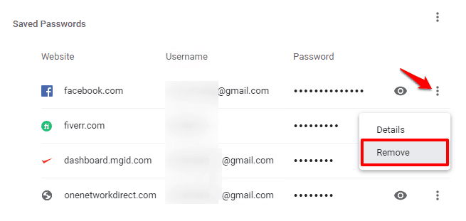 remove all saved passwords from chrome