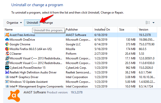 how to remove antivirus software from windows 10
