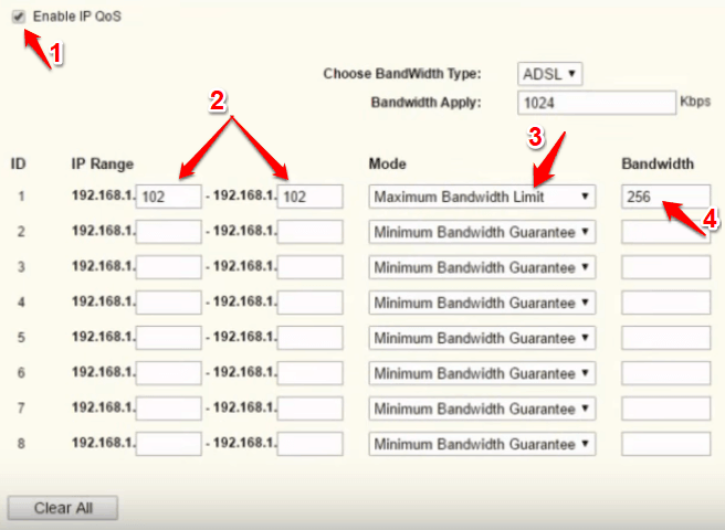 how to limit bandwidth on router per user