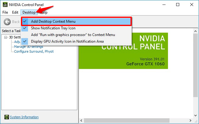 nvidia control panel not showing all options
