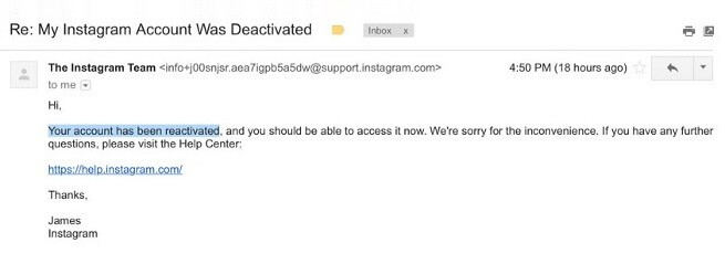 Your account has been disabled for violating our terms Instagram