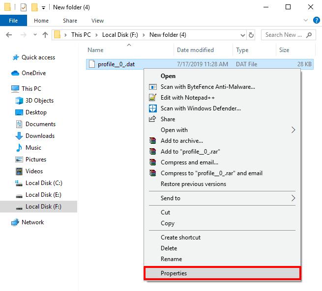 open dat file in windows