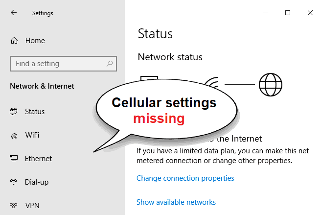 cellular missing from network and internet settings