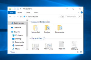 remove quick access windows 10