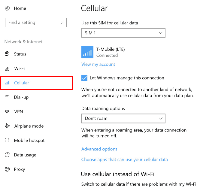 windows 10 cellular