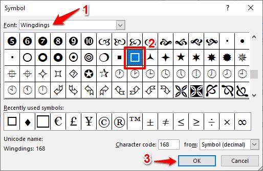 checkbox symbol in word