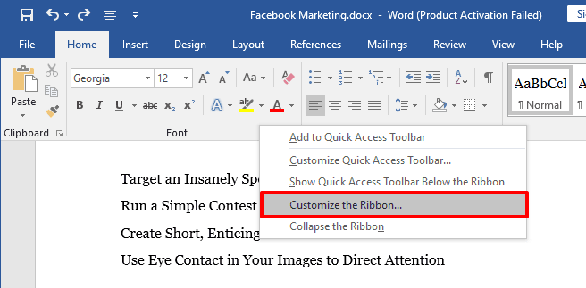 create a checklist in word
