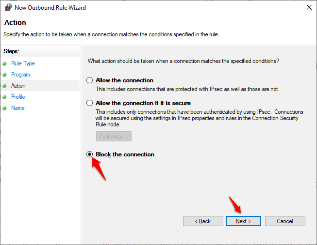how to block a program in firewall windows 10