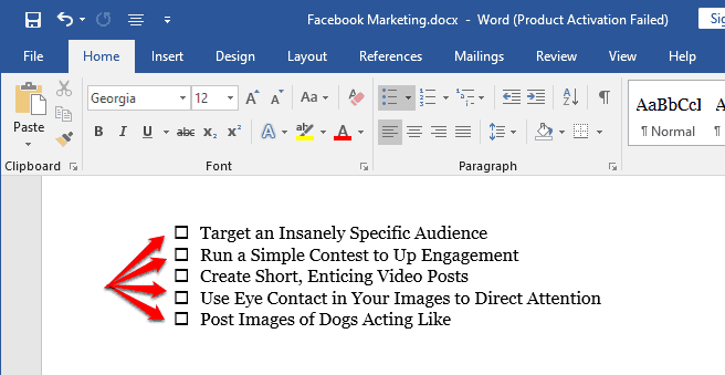 insert checkbox in word document