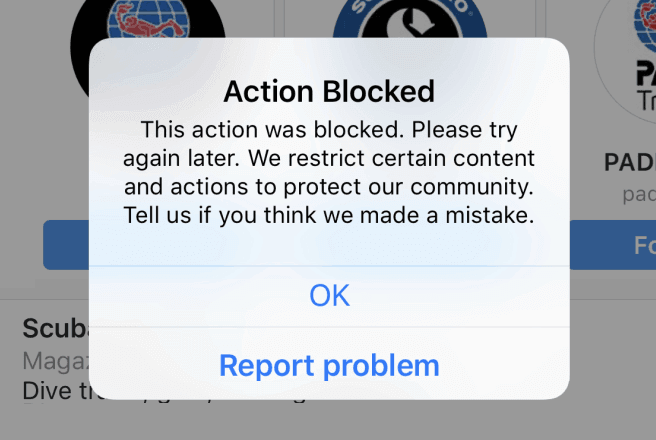 action blocked instagram