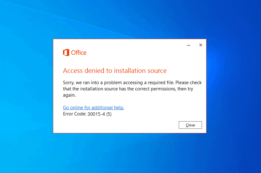 office access denied to installation source