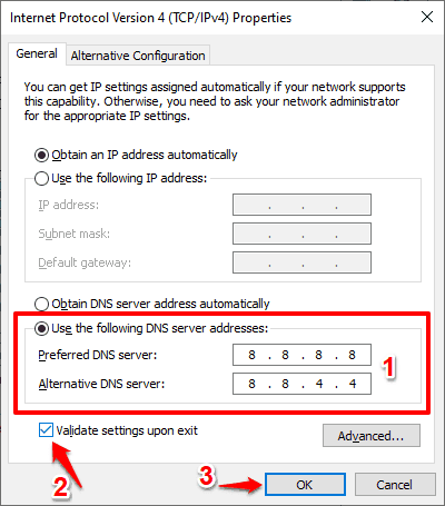 use the following dns server addresses windows 10