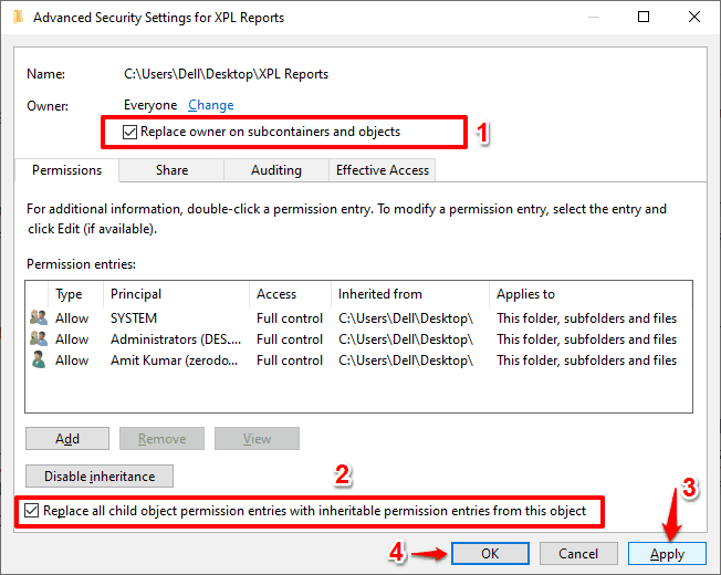 an error occurred while applying security information to windows 10