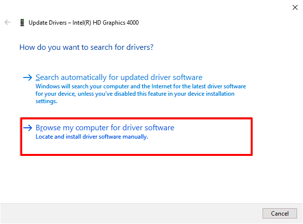 browser my computer for driver software