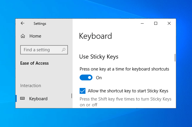 can't turn off sticky keys windows 10