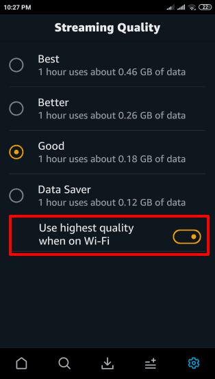 change amazon prime video quality settings