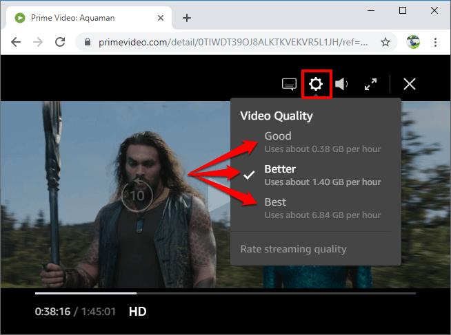 change amazon prime video quality