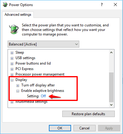 disable adaptive brightness windows 10