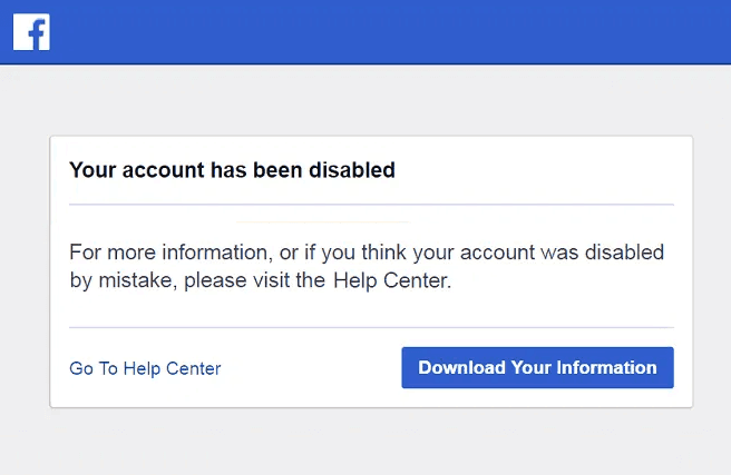 facebook account is disabled