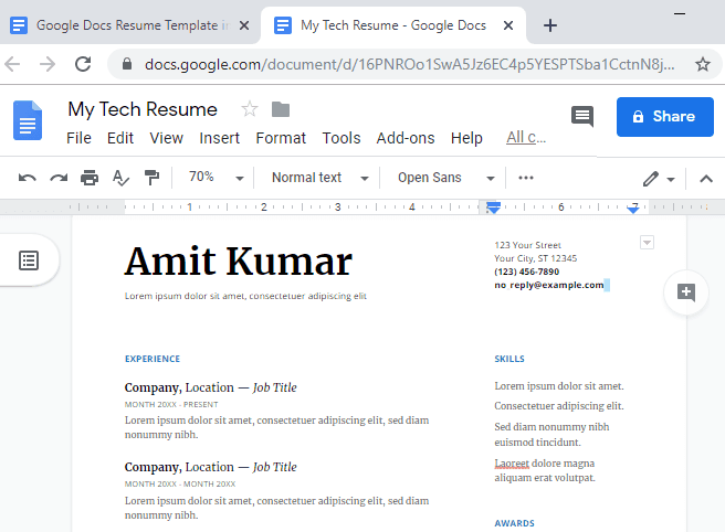 free google doc resume templates
