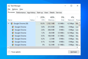google chrome multiple processes