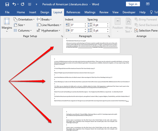 how to change orientation of one page in word 2019