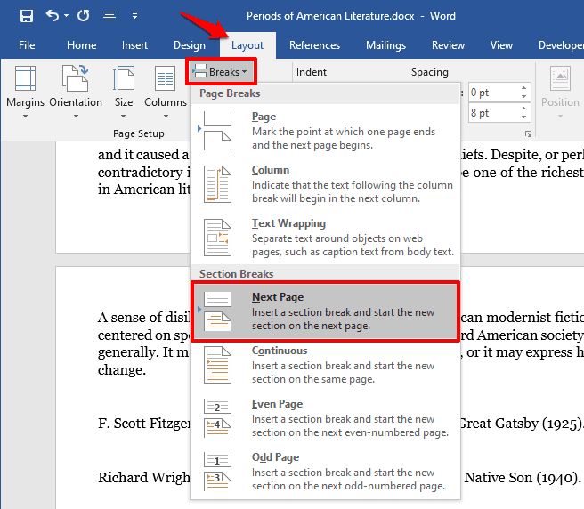 how to change orientation of one page in word