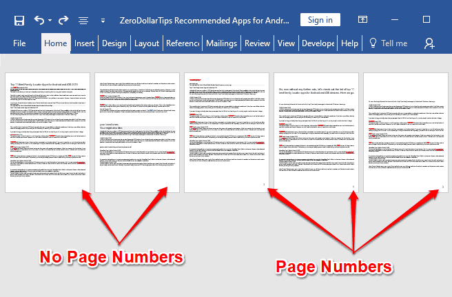 how to insert page number in word 2016