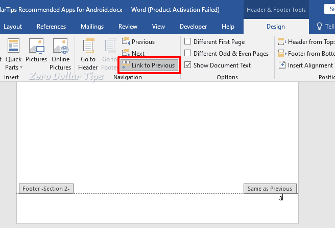 how to insert page number in word from specific page