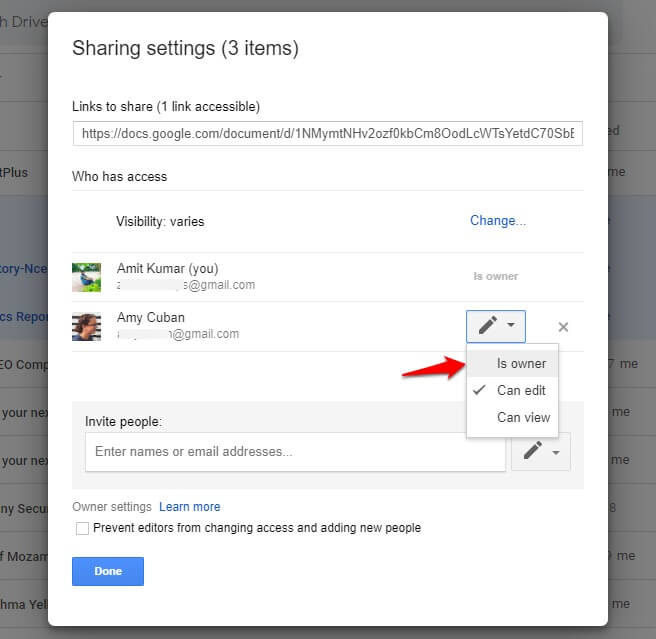 how to move google drive files to another account
