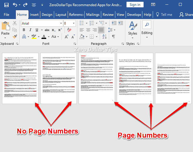 how to number pages in word starting on page 2