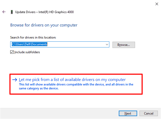 let me pick from a list of available drivers on my computer