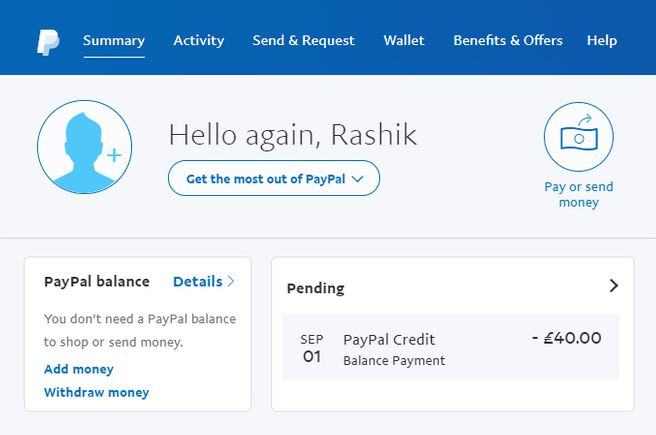 paypal payment pending