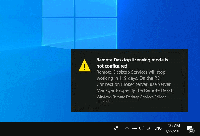 remote desktop licensing mode is not configured